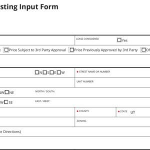 Residential Listing Input Form, Real Estate Form