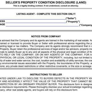 Seller's Property Condition Disclosure (Land), real estate form