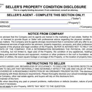 Seller's Property Condition Disclosure, real estate form